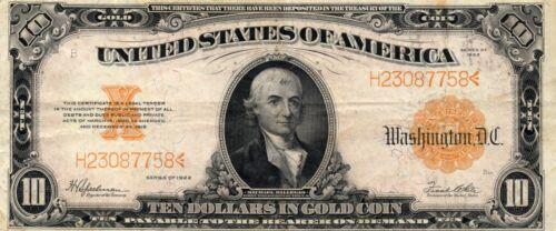 1922 $10 Gold Certificate - Speelman/White Fr. 1173 - XF - Bright Color!