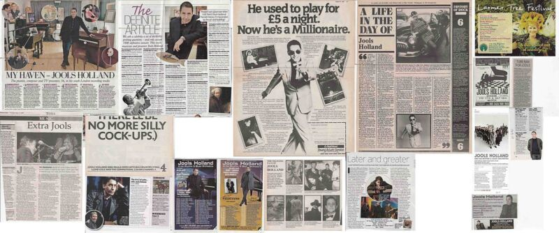 JOOLS HOLLAND : CUTTINGS COLLECTION - adverts interviews