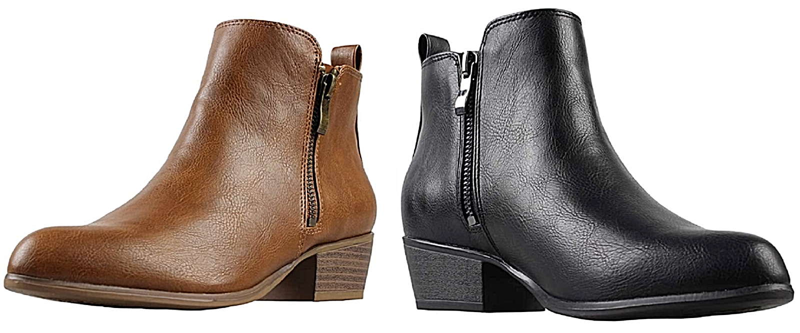 Womens Synthetic Leather Ankle Boots Zipper Closure Stacked Block Heel DURABLE Boots