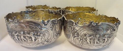 Antique 800 Silver Germany Repousse Berry Bowls Cherubs Putti - Set of 4