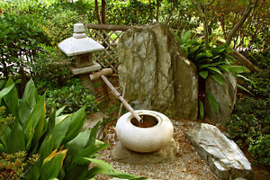 Japanese Zen Garden Granite Stone Tetsubachi Water Basin Display LAST