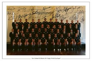 ALL BLACKS RUGBY WORLD CUP 2011 PLAYERS SQUAD SIGNED AUTOGRAPH PHOTO PRINT