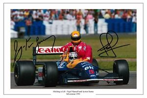 NIGEL MANSELL & AYRTON SENNA HITCHING A LIFT F1  SIGNED PHOTO PRINT
