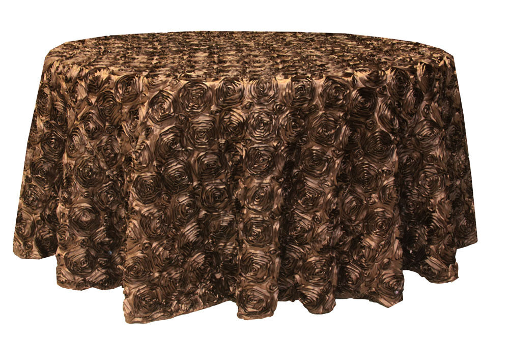 120 round rosette satin tablecloth 3 colors ribbon for 120 table cloth