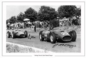 JUAN MANUEL FANGIO & STIRLING MOSS FORMULA ONE AUTOGRAPH SIGNED PHOTO PRINT F1