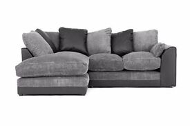 UK EXPRESS DELIVERY | DYLAN JUMBO BLK/GRY CORNER OR 3+2 SEATER SOFA | 1 YEAR WARRANTY |SPRING BASE