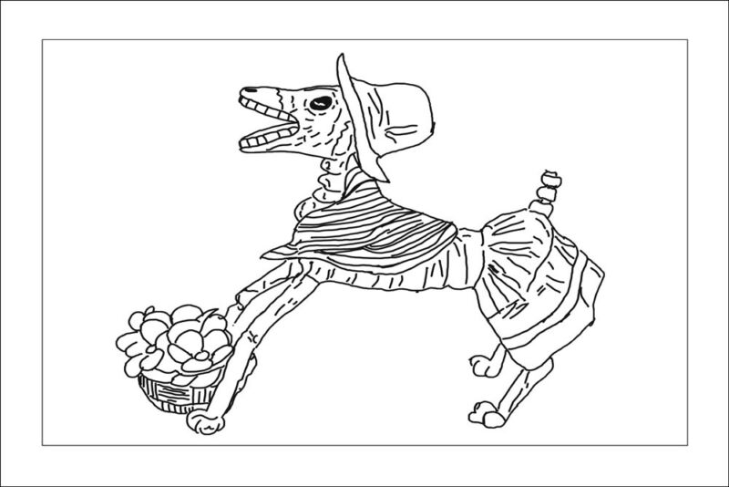 """Rug Hooking Pattern """"DAY OF THE DEAD DOG""""  on natural linen"""