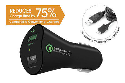 Tenergy 30W 2-Port Qualcomm Quick Charge 2.0 Adaptive Fast USB Car Charger BLACK
