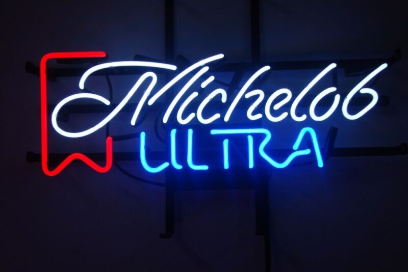 "New Michelob Ultra Beer Bar Neon Sign 20""x16"" Real Glass Decor"