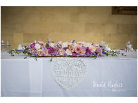 Beautiful Table Flowers X10 plus top table bunch including stand, mirrored centre-piece and numbers