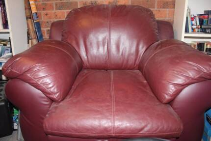 2x Comfy Maroon Leather Armchairs