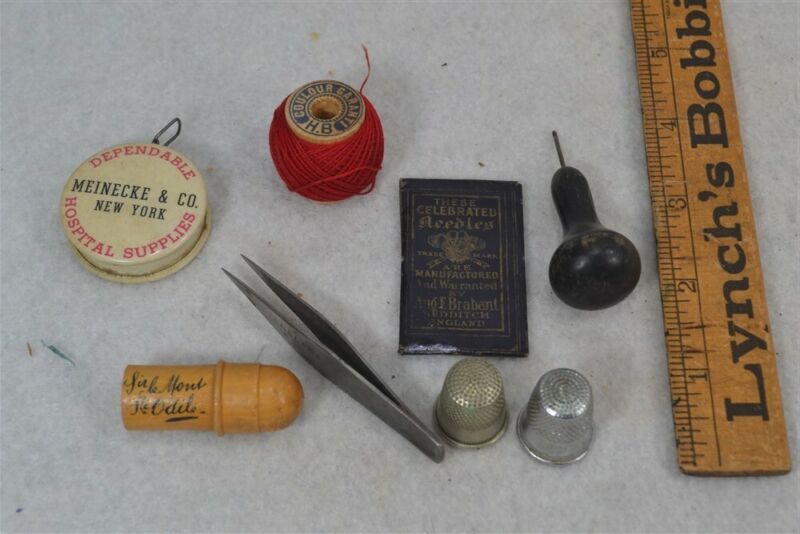 antique sewing lot tools thimble thread tape needles awl 8 pc antique