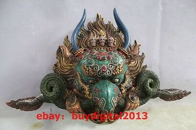 a3079756000 Tibetan Bronze Inlay Turquoise Garuda Bird Eagle Buddha Head Statue Vizard  Mask