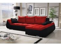 "Corner sofa bed sofa bed UK STOCK 1-5 DAY DELIVERY ""Lugano"" Red"