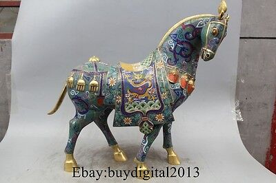 "21"" Chinese Bronze 100% 24K Gold Cloisonne Lucky Zodiac Year Dragon Horse Statue"