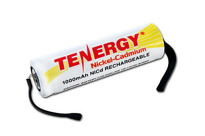 Tenergy AA 1000mAh High Capacity NiCd Rechargeable Battery Cell Flat Top w/ Tab 1000mah Nicd Rechargeable Battery