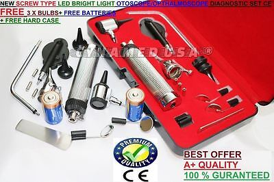 New Incredible 3.2v Pro Led Otoscope Opthalmoscope Set W Hard Case Free 3 Bulb