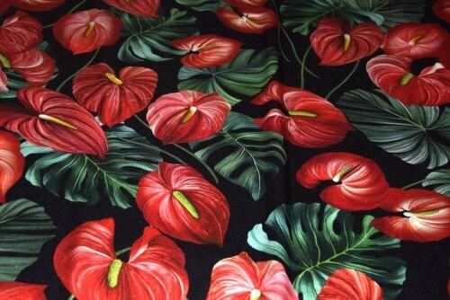 Silkd DG anturium, black ,red, flowers pattern, sewing, silk
