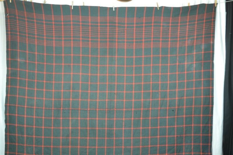 antique blanket throw shawl hand made wool 86x86 19th c plaid red green 1800