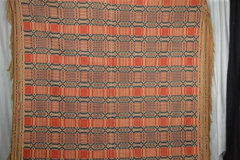 antique coverlet linen wool red white blue 74x92 hand made 1850 original best vg