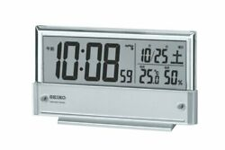 SEIKO CLOCK Alarm clock Radio wave digital Calendar Silver metallic SQ773S F/S