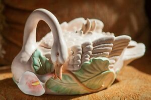 FITZ AND FLOYD SWAN CALLA LILY 3-Pc SOUP TUREEN, COVER & LADLE 1987 RARE