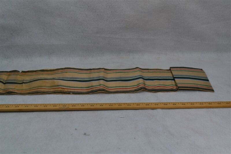 antique silk sewing roll up striped ribbon unusual large 6 x 31 original 1800