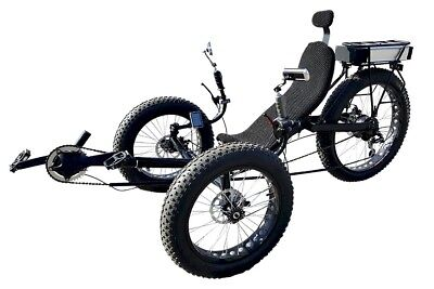 Fat tire recumbent electric bike, electric tricycle, motor trike with FREE S&H