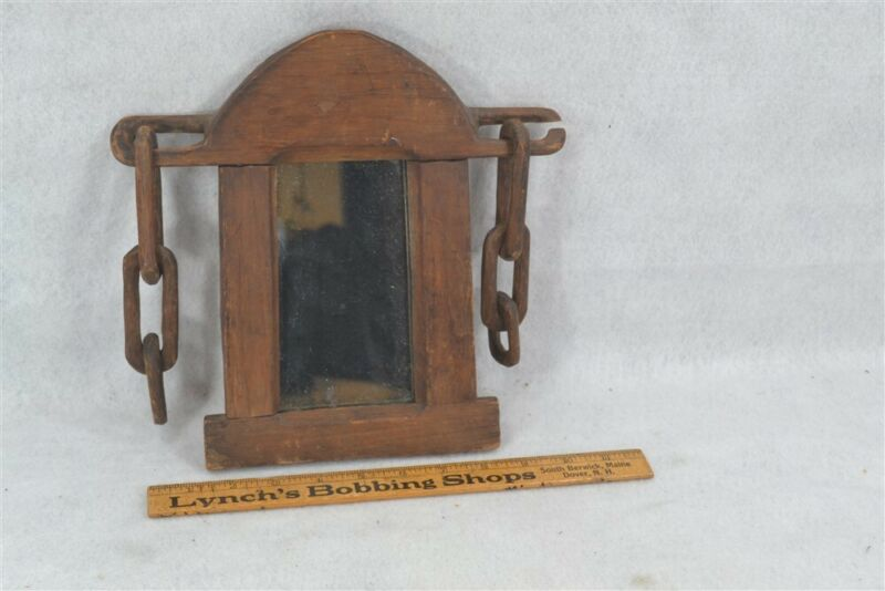 whimsy puzzle early primitive wood hand made hanging mirror chains 19th c 1800s