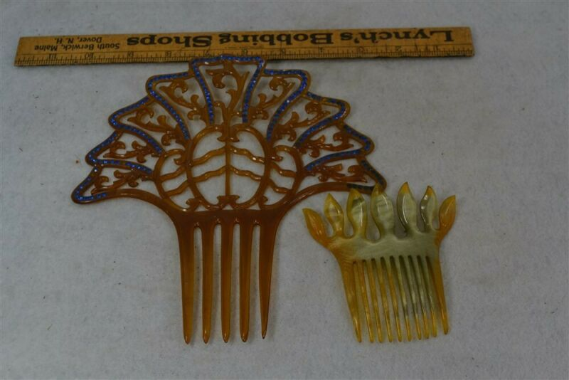 antique hair comb fancy decorative Victorian large tortoise celluloid stones