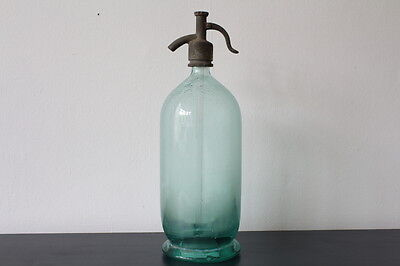 Vintage glass seltzer bottle / Glass soda syphon