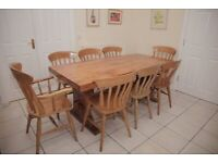 ANTIQUE PINE DINING TABLE & 8 CHAIRS