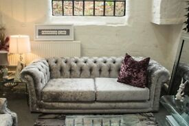Ex Show Home Silver Glitter Sofa Suite - NEW