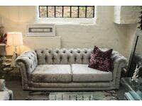 Ex Show Home Silver Glitter Sofa Suite - NEW