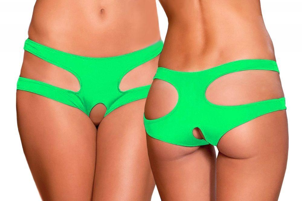Lau-Fashion Damen Panty Slip Unterhose Popo Offen Intim Riemen Tanga Dessous S/M