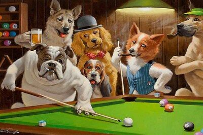 Pool Art - Home Art Wall Dogs Playing Pool billiards Oil Painting Picture Printed On Canvas