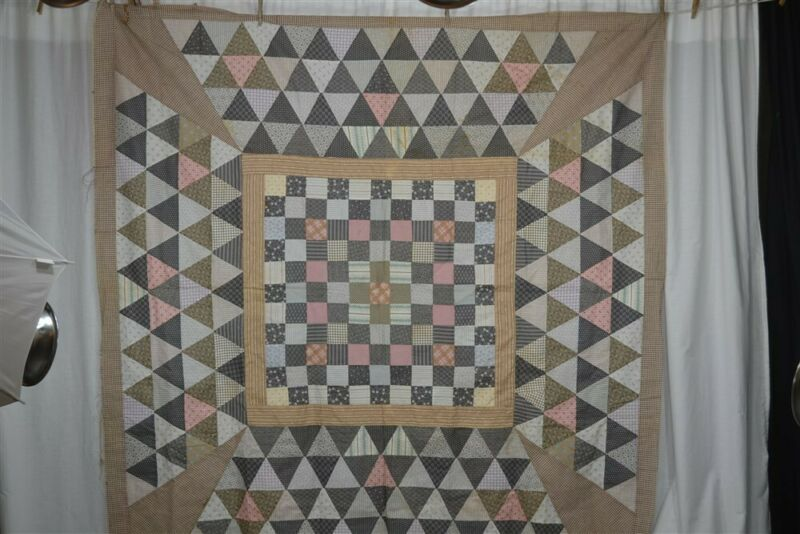 antique quilt top blocks cotton calico 74 x 74 early Civil War Era original