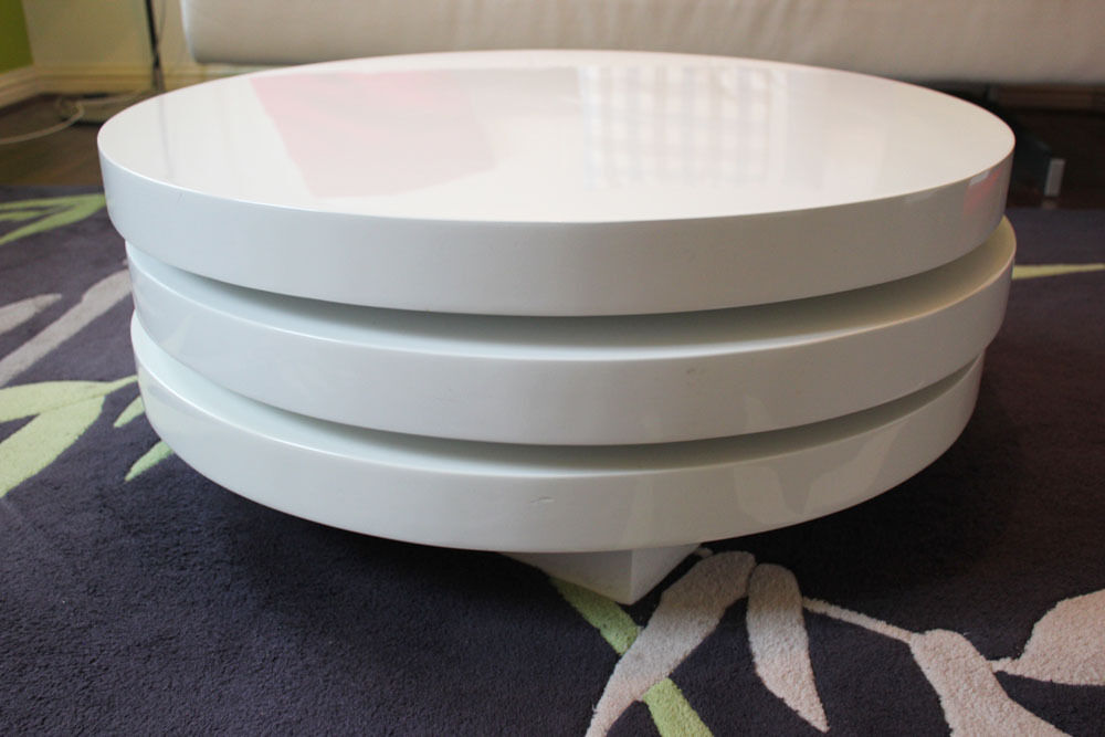Dwell Triplo Round Gloss Swivel Coffee Table White In Chafford - Round rotating coffee table