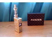 GENUINE PANZER 50W TC VARIABLE WATTAGE E SHISHA HIGH QUALITY BOX MOD + AMIGO RIPTIDE SUB TANK GOLD