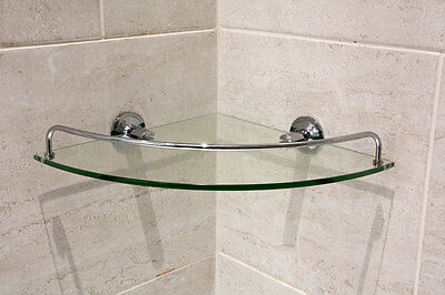 1 Level Bathroom Corner Shelf Shelve Glass Shower Wall Mounted Storage Shelving