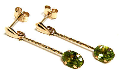 9ct Gold Peridot oval long drop earrings Gift Boxed Made in UK Christmas Xmas