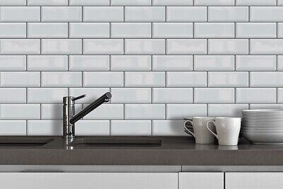 White Metro Glossy  Sticker Tiles 30cm x 15cm Premium Wall Splashbacks Mosaics Metro Wall Tiles