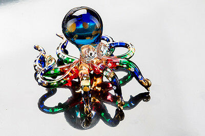 Octopus Blown Glass Miniature Aquarium Blue Figurine Handcraft Collectible Decor