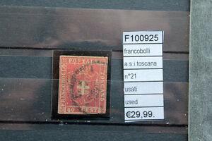 FRANCOBOLLI ASI N°21 TOSCANA USATI (F100925) - Italia - L'oggetto può essere restituito - Italia
