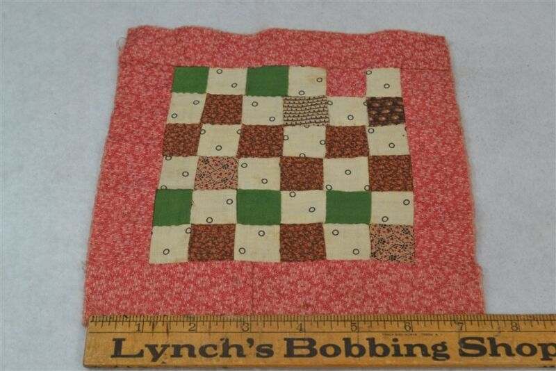 quilt block patchwork postage stamp doll bed cotton 19th c antique original