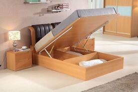 BRAND NEW SOLID WOODEN MDF SINGLE DOUBLE KING SIZE OTTOMAN STORAGE BED FRAME WITH LEATHER FINISH