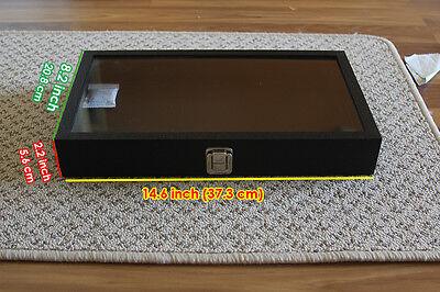 Jewelry Gemstone Showcase Display Case Glass Top Portable Travel Box Black