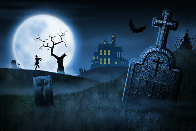 10x8FT Spooky Halloween Night Foggy Cemetery Vinyl Studio Backdrop Background - Halloween Foggy Night