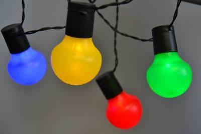 LED Party Lichterkette für Außen 50-tlg. bunte Kugeln 12,25m + 5m Zul. Neu ()