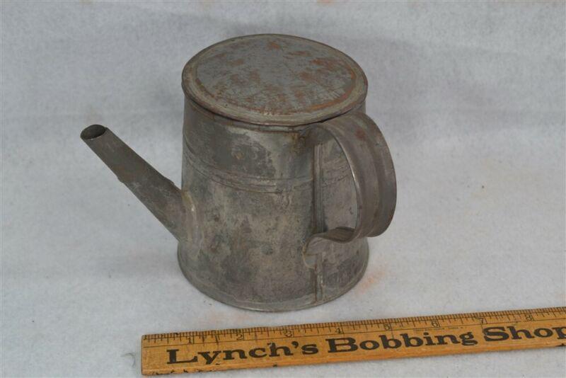 tin pour covered container pot primitive 19th c cream milk oil liquid antique
